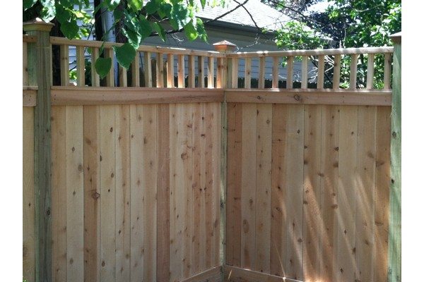 Wood privacy fence.